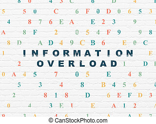 Information concept: Information Overload on wall background