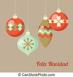 Retro Merry Christmas greeting card, invitation, Spanish...