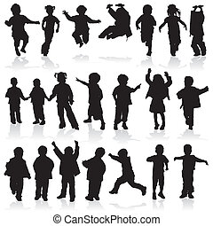 Vector silhouette girls and boys