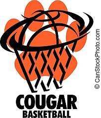 cougar basketball team design with paw print for school,...