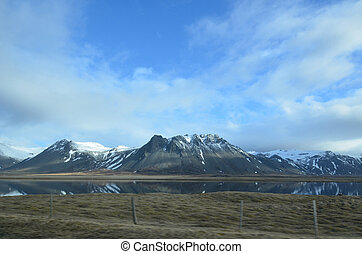 Beautiful View of Snow Capped Mountains on Snaefellsnes...