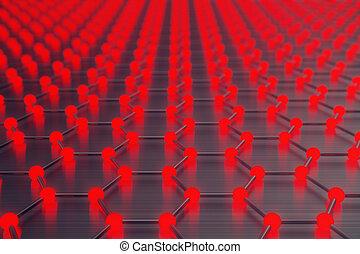 3d rendering red abstract nanotechnology hexagonal geometric...