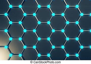 3d rendering abstract nanotechnology hexagonal geometric...