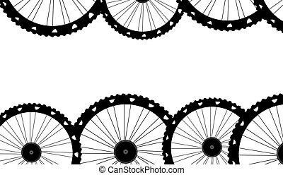 bike wheels background pattern. Pattern of bicycle wheels.