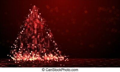 Abstract Technology Christmas Tree Background - Red