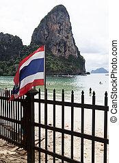 Thai flag in the background sandy beach .Tayland Krabi. -...