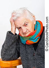 Depressed elderly woman - Picture of an ill elderly woman...