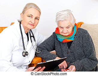 Elderly woman on therapy - Picture of an elderly woman with...