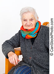 Happy elderly woman on therapy - Picture of a happy elderly...