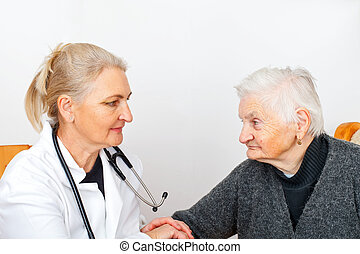 Elderly woman on therapy - Picture of an old lady with her...