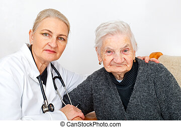 Old lady with her caregiver