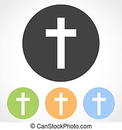 Christian cross mark icons. Vector illustration. - Christian...