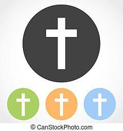 Christian cross mark icons. Vector illustration. - Christian...