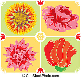 Floral background, icon set, illustration - Abstract floral...
