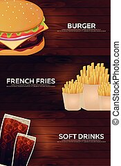 Set banners for Fast food restaurant. Burger, french fries...