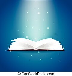 Book poster. Open book with mystic bright light on blue background. Vector illustration.