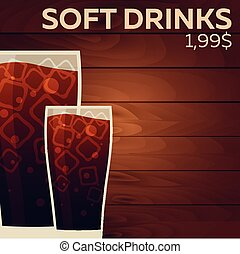 Soft drinks price. Fast food Restauran menu. Vector...