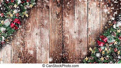 Merry Christmas Frame with real wood green pine, colorful...