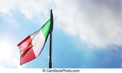 National flag of Italy on a flagpole