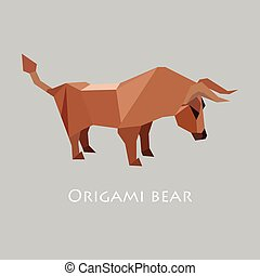 Illustration of flat design with origami bull isolated on...