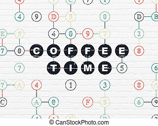 Time concept: Coffee Time on wall background - Time concept:...