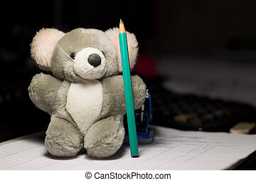 soft toys and stationery, grey toy with a pencil,very cute