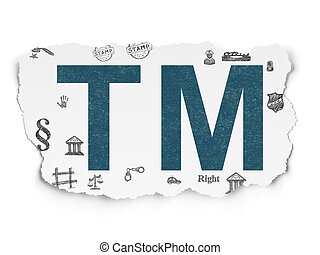Law concept: Trademark on Torn Paper background - Law...