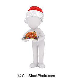 3d chef or waiter serving Christmas dinner - cute 3d chef or...