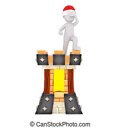 Medieval 3d guard standing lookout on ramparts - Medieval 3d...