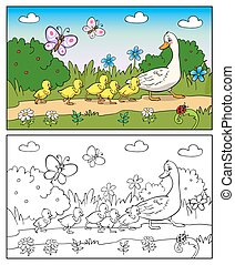 Coloring book. Mother duck and ducklings. - Coloring book or...
