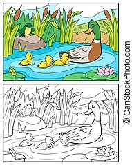 Coloring book. Mother duck and ducklings with frog. -...