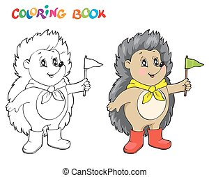 Coloring book or page wiht Hedgehog. - Coloring book or page...