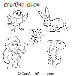 Black and white line art drawings animals collection, you can use like coloring book for adults. Coloring book or page