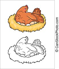 Coloring book. Mother hen with eggs.
