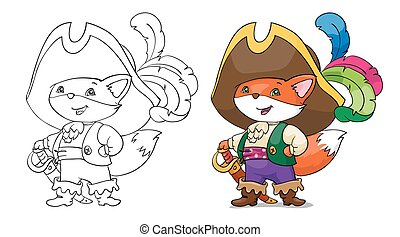 Vector illustration, fox pirate. Card concept. White background.