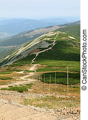 Beautiful summer landscape with road in the mountains, Karkonosze, Sudety, Poland