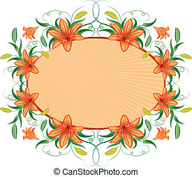 Floral frame with lily, vector illustration