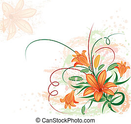 Grunge floral background with lilium, vector illustration
