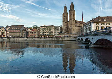 ZURICH, SWITZERLAND - 28 OCTOBER 2015 : Grossmunster church...