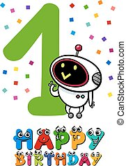 first birthday cartoon design - Cartoon Illustration Design...