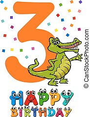 third birthday cartoon card - Cartoon Illustration of the...