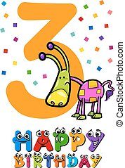 third birthday card design
