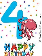 fourth birthday cartoon card
