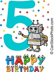 fifth birthday cartoon card - Cartoon Illustration of the...