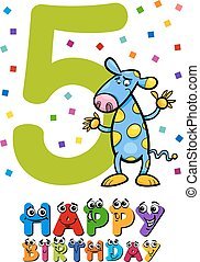 fifth birthday card design - Cartoon Illustration Design of...