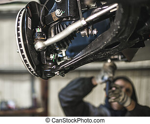 car suspension parts with shallow depth of field