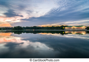 View of Kuskovo park at sunset. HDR image. Moscow, Russia. -...