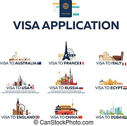 Big set Visa to the country. Australia, France, Italy, USA, Russia, Egypt, England, China, Dubai. Document for travel. Vector flat illustration.