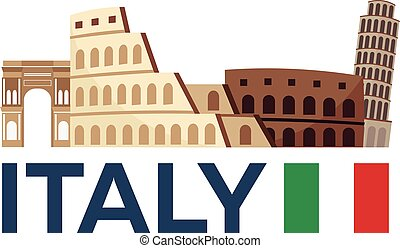 Travel to Italy, Rome skyline. Vector illustration.