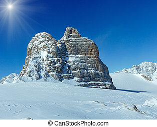 Winter sunshiny Dachstein mountain massif